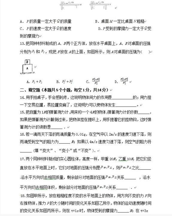 2018重慶市彭水一中八年級下第二次月考物理試題【圖片版】