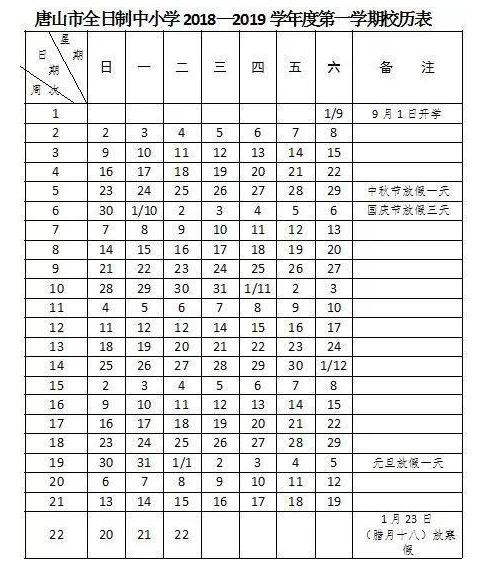 2019年唐山中小学寒假放假时间是什么时候