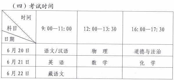 2019西藏各市中考考试科目及安排