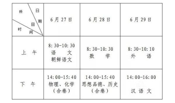 2019長春中考考試時間