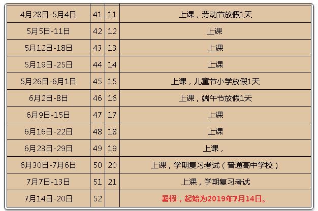 2019廣東中小學暑假放假時間表