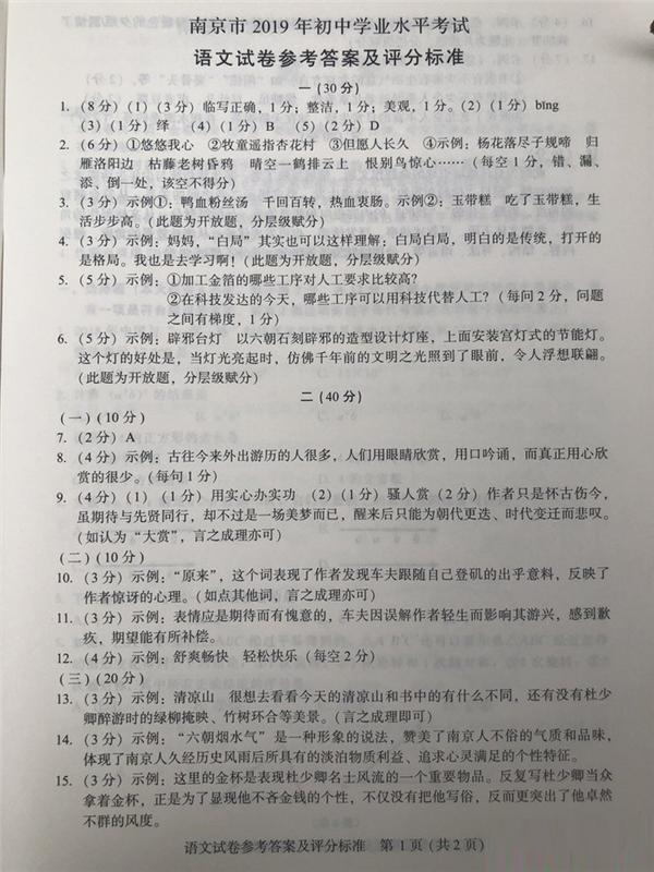 2019江蘇南京中考語文試題及答案