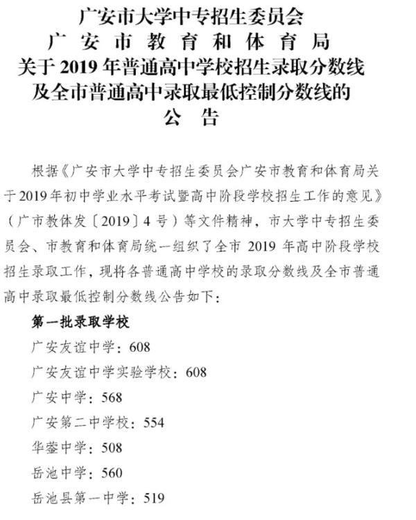 2019四川廣安各高中錄取分數線