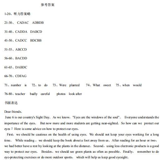 2019年貴州黔東南中考英語真題答案【圖片版】