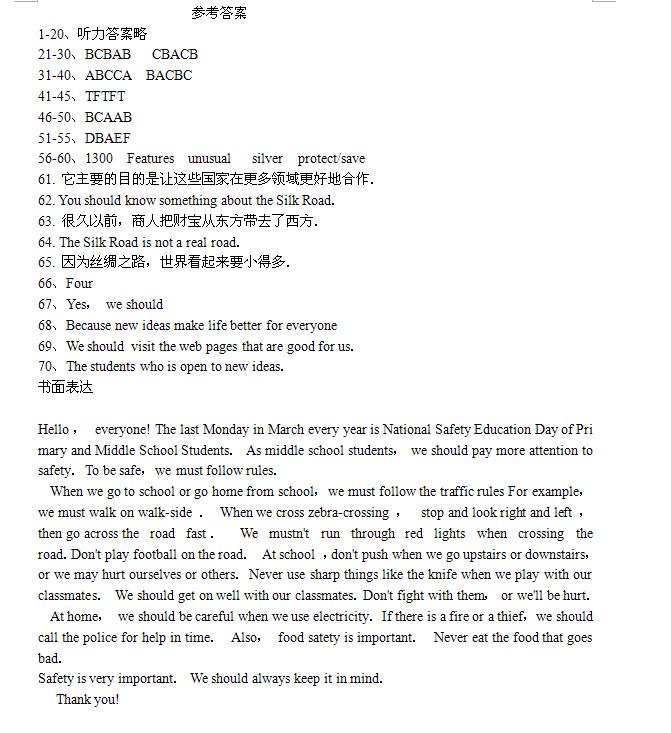 2019年湖南邵阳中考英语试题答案【图片版】