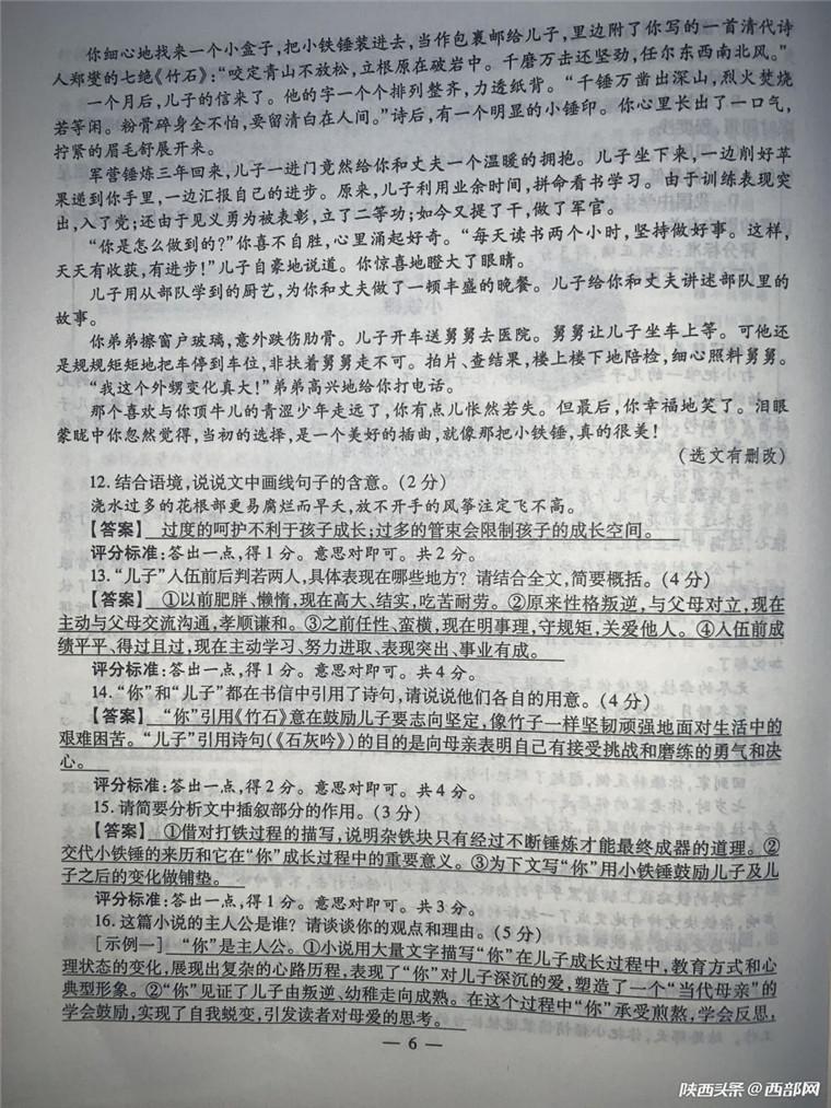 2019陕西中考语文真题及答案