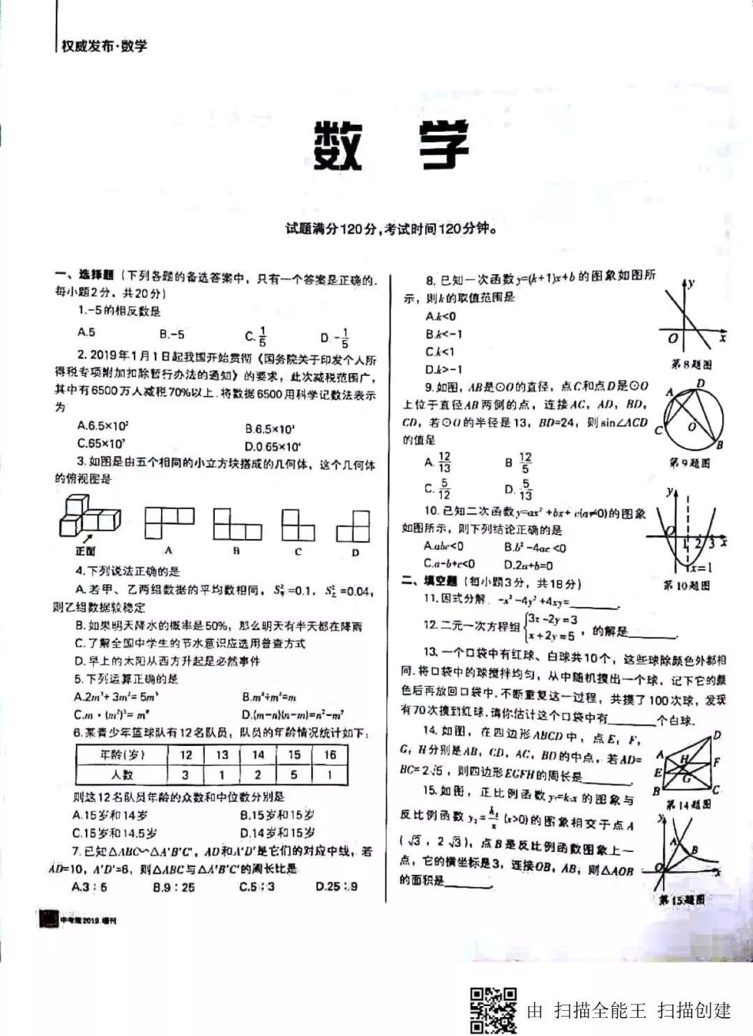 2019年遼寧沈陽中考數學真題及答案【圖片版】