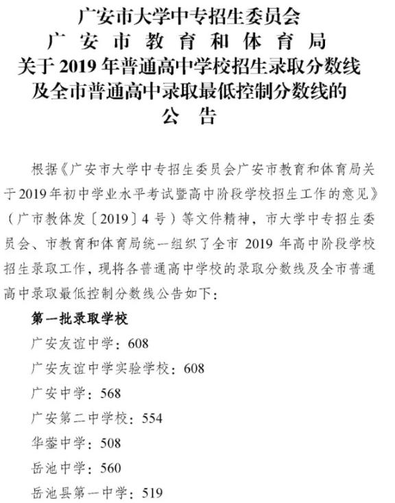 2019广安录取分数