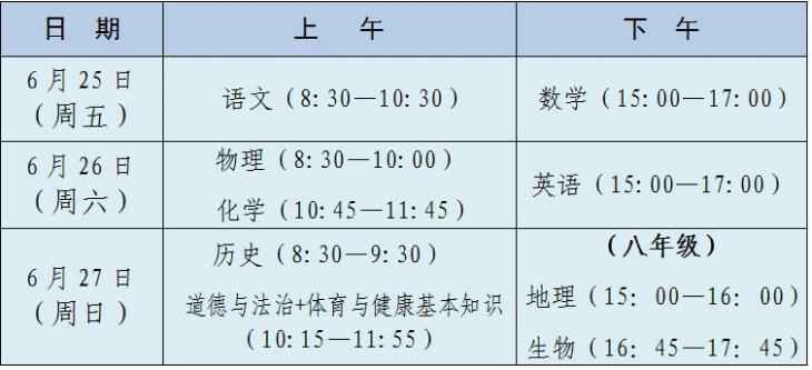 2021莆田中考时间